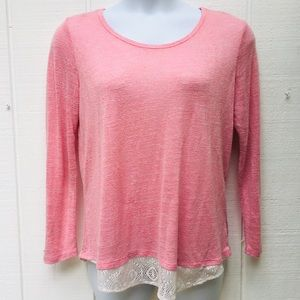 Knitted Long Sleeve T With Lace Underlay Sz L